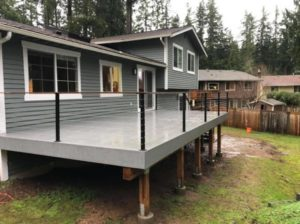 TREX Select composite decking in the Pebble Grey, deck builder project in snohomish county